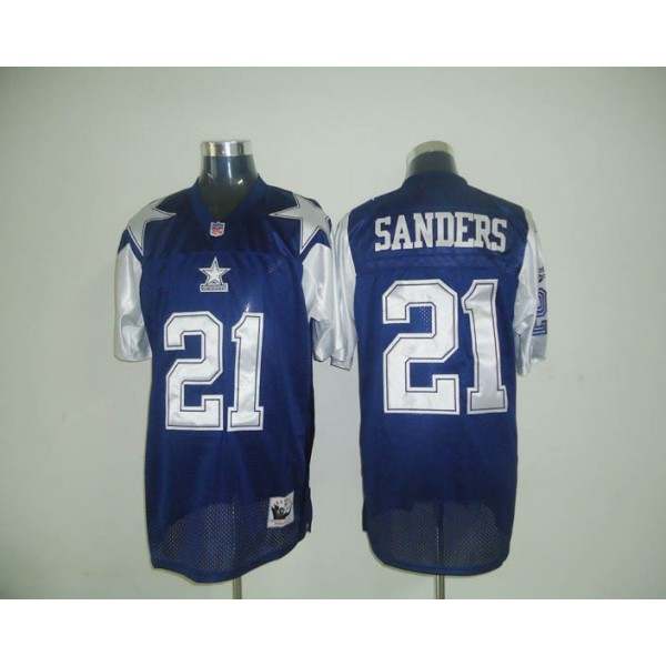 Mitchell & Ness Cowboys #21 Deion Sanders Blue Stitched Throwback NFL Jersey