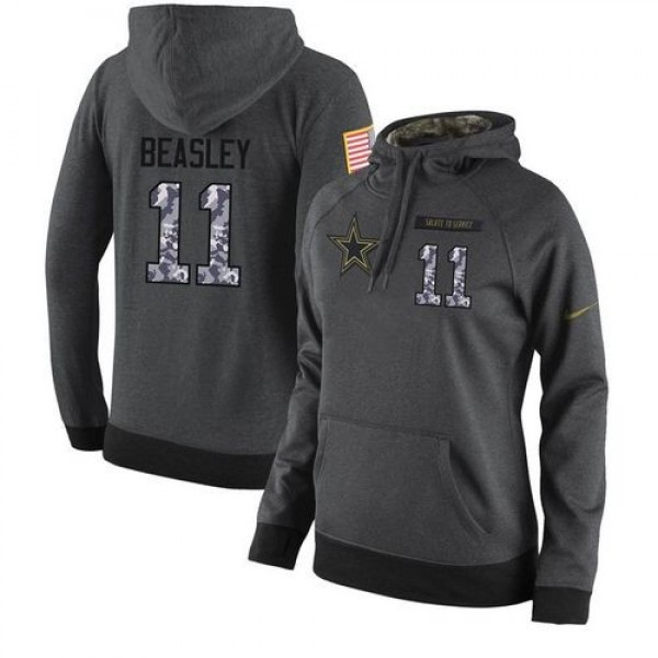 Women's NFL Dallas Cowboys #11 Cole Beasley Stitched Black Anthracite Salute to Service Player Hoodie Jersey