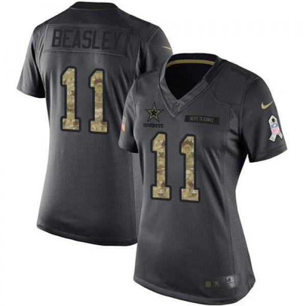 Women's Cowboys #11 Cole Beasley Black Stitched NFL Limited 2016 Salute to Service Jersey