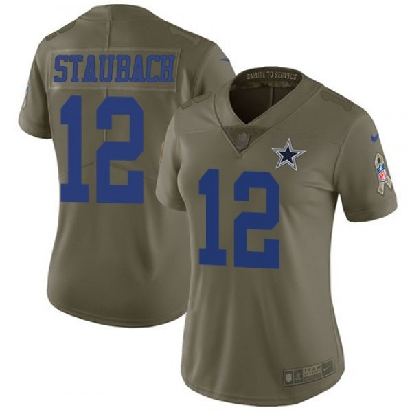 Women's Cowboys #12 Roger Staubach Olive Stitched NFL Limited 2017 Salute to Service Jersey