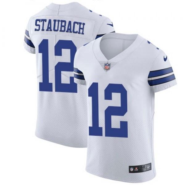 Nike Cowboys #12 Roger Staubach White Men's Stitched NFL Vapor Untouchable Elite Jersey