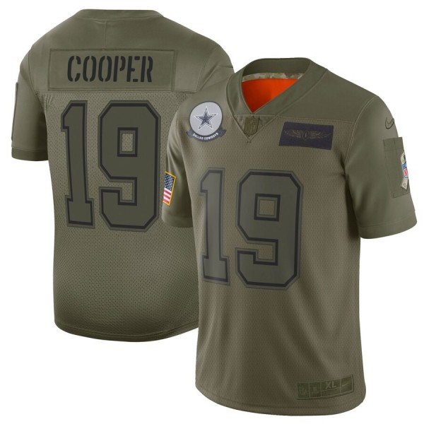 Nike Cowboys #19 Amari Cooper Camo Men's Stitched NFL Limited 2019 Salute To Service Jersey