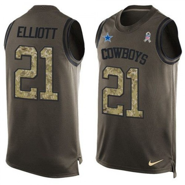 Nike Cowboys #21 Ezekiel Elliott Green Men's Stitched NFL Limited Salute To Service Tank Top Jersey