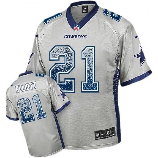 Nike Cowboys #21 Ezekiel Elliott Grey Men's Stitched NFL Elite Drift Fashion Jersey