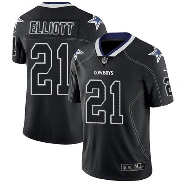 Nike Cowboys #21 Ezekiel Elliott Lights Out Black Men's Stitched NFL Limited Rush Jersey