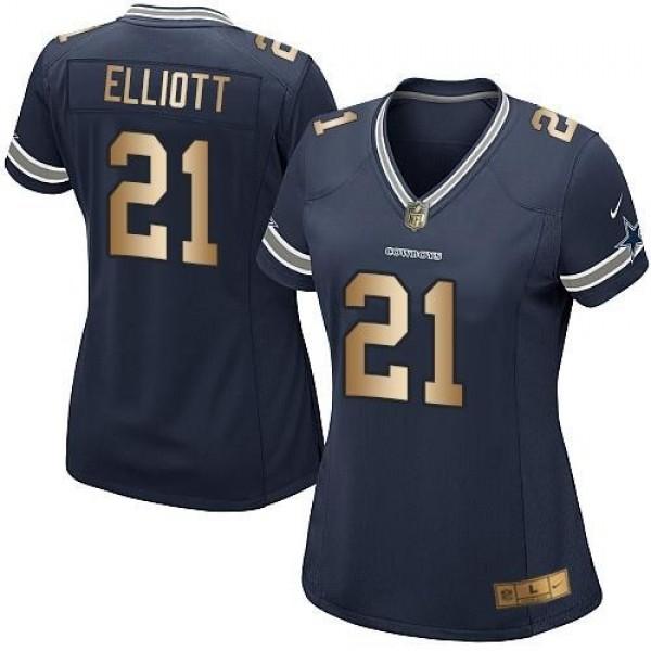 Women's Cowboys #21 Ezekiel Elliott Navy Blue Team Color Stitched NFL Elite Gold Jersey
