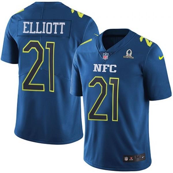 Nike Cowboys #21 Ezekiel Elliott Navy Men's Stitched NFL Limited NFC 2017 Pro Bowl Jersey