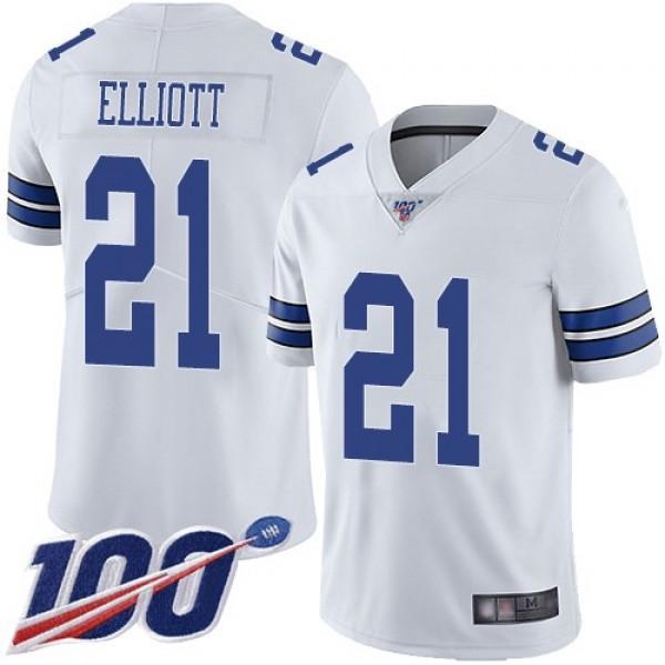 Nike Cowboys #21 Ezekiel Elliott White Men's Stitched NFL 100th Season Vapor Limited Jersey