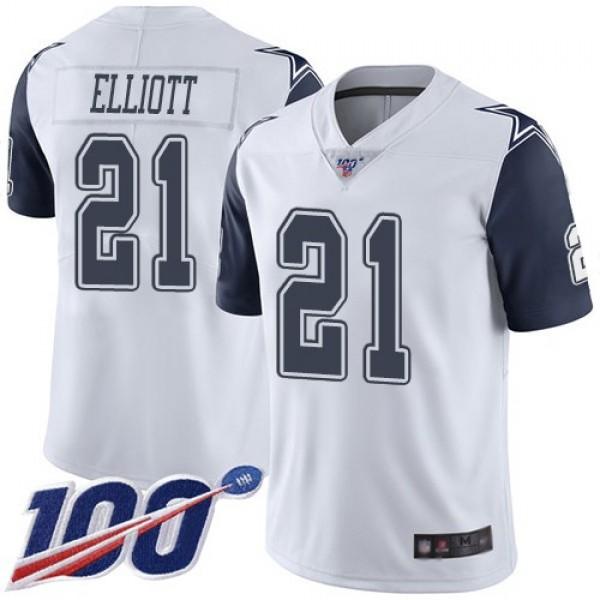 Nike Cowboys #21 Ezekiel Elliott White Men's Stitched NFL Limited Rush 100th Season Jersey