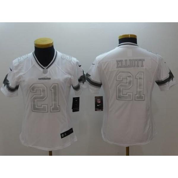 Women's Cowboys #21 Ezekiel Elliott White Stitched NFL Limited Platinum Jersey