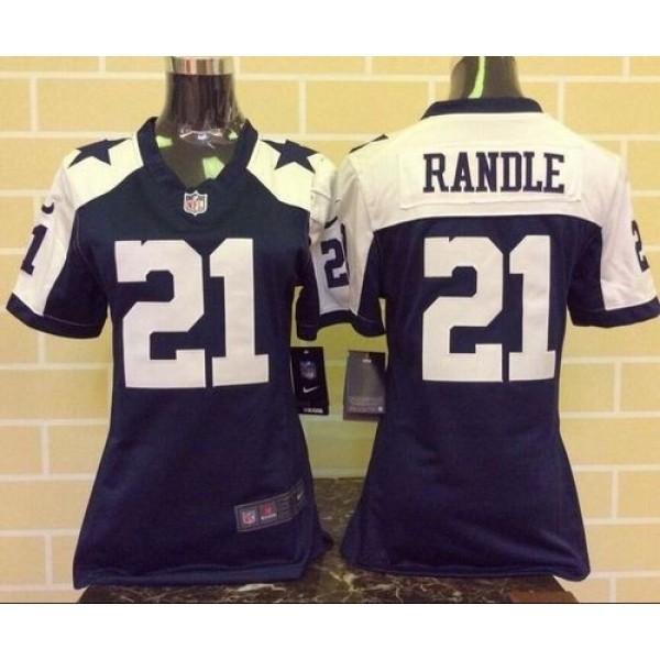 Women's Cowboys #21 Joseph Randle Navy Blue Thanksgiving Throwback Stitched NFL Elite Jersey