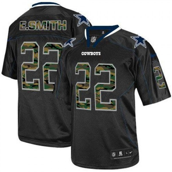 Nike Cowboys #22 Emmitt Smith Black Men's Stitched NFL Elite Camo Fashion Jersey
