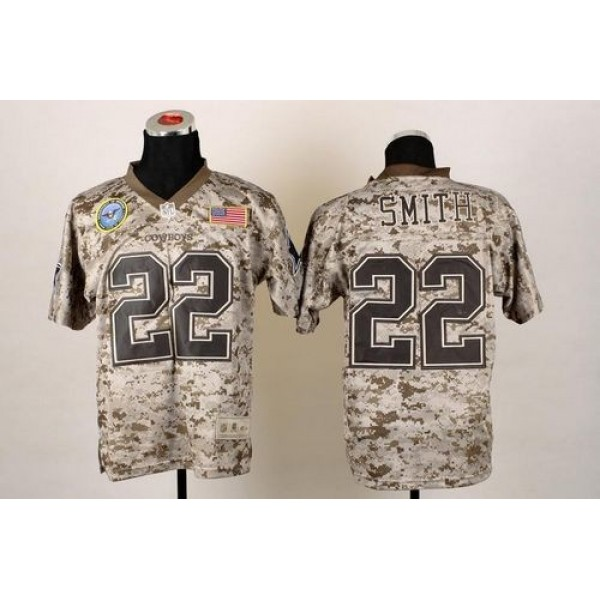 Nike Cowboys #22 Emmitt Smith Camo Men's Stitched NFL New Elite USMC Jersey