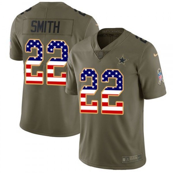 Nike Cowboys #22 Emmitt Smith Olive/USA Flag Men's Stitched NFL Limited 2017 Salute To Service Jersey