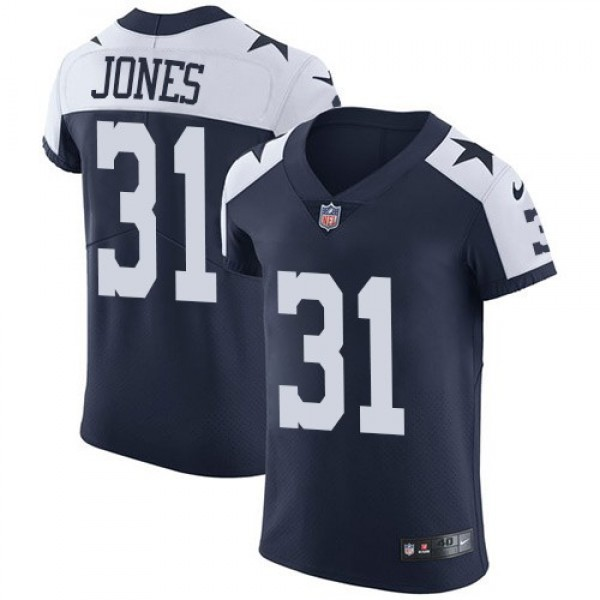 Nike Cowboys #31 Byron Jones Navy Blue Thanksgiving Men's Stitched NFL Vapor Untouchable Throwback Elite Jersey