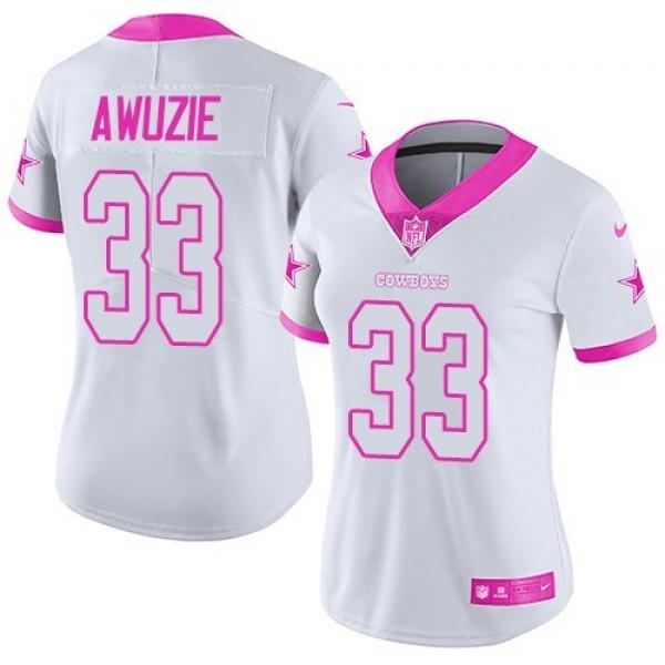 Women's Cowboys #33 Chidobe Awuzie White Pink Stitched NFL Limited Rush Jersey