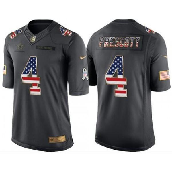 Nike Cowboys #4 Dak Prescott Black Men's Stitched NFL Limited USA Flag Salute To Service Jersey