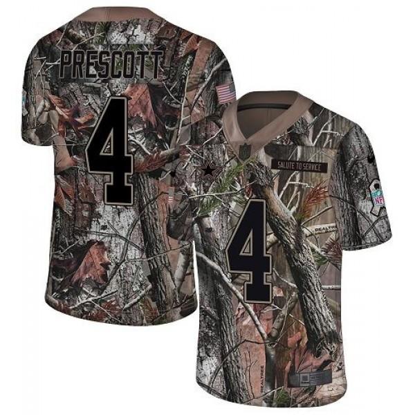 Nike Cowboys #4 Dak Prescott Camo Men's Stitched NFL Limited Rush Realtree Jersey