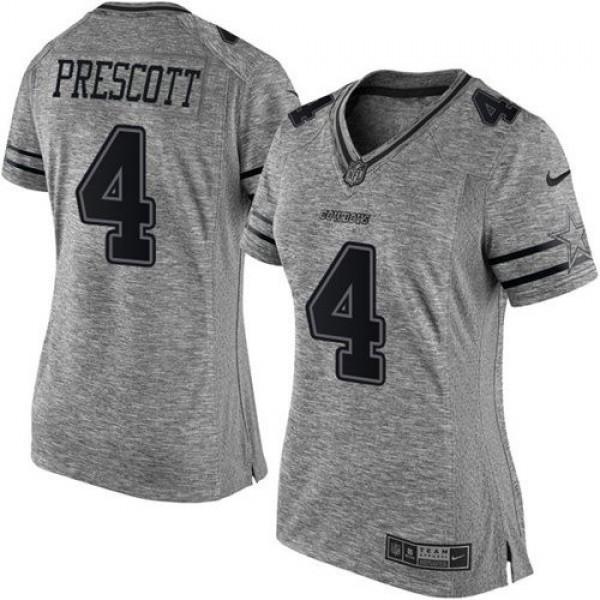 Women's Cowboys #4 Dak Prescott Gray Stitched NFL Limited Gridiron Gray Jersey