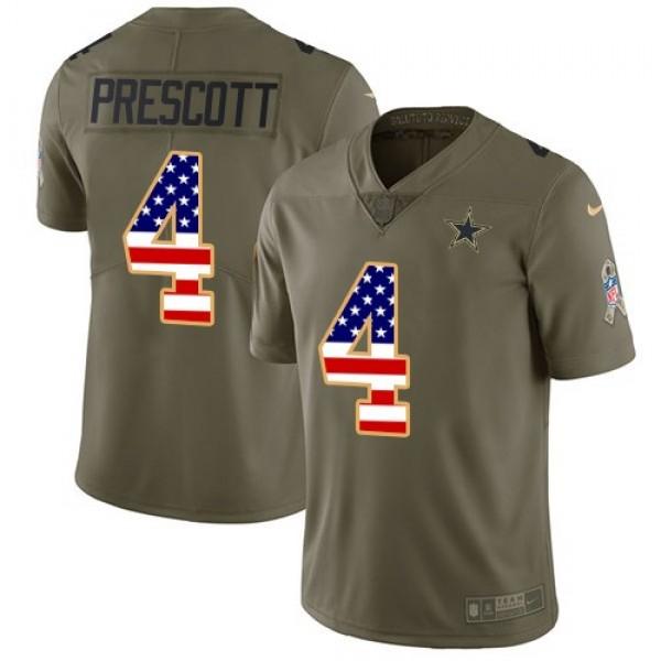 Nike Cowboys #4 Dak Prescott Olive/USA Flag Men's Stitched NFL Limited 2017 Salute To Service Jersey