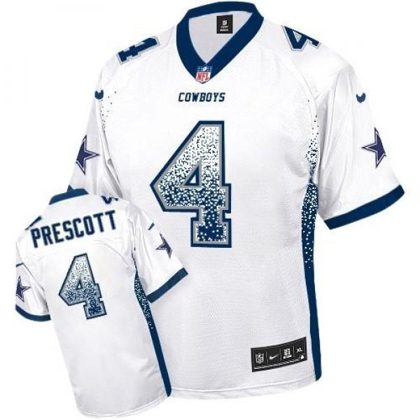 Nike Cowboys #4 Dak Prescott White Men's Stitched NFL Elite Drift Fashion Jersey