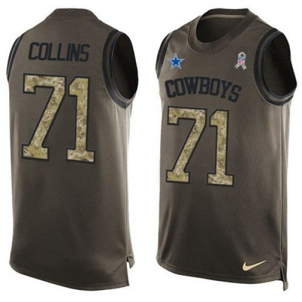 Nike Cowboys #71 La'el Collins Green Men's Stitched NFL Limited Salute To Service Tank Top Jersey