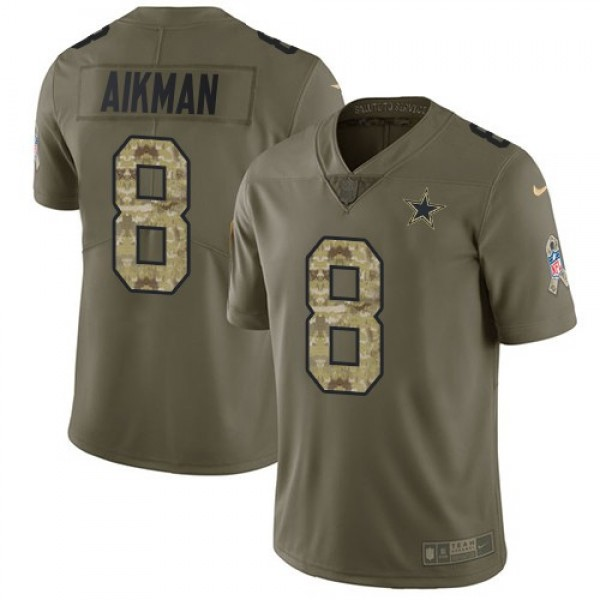 Nike Cowboys #8 Troy Aikman Olive/Camo Men's Stitched NFL Limited 2017 Salute To Service Jersey