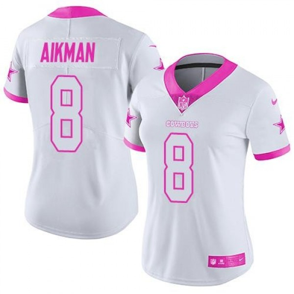 Women's Cowboys #8 Troy Aikman White Pink Stitched NFL Limited Rush Jersey