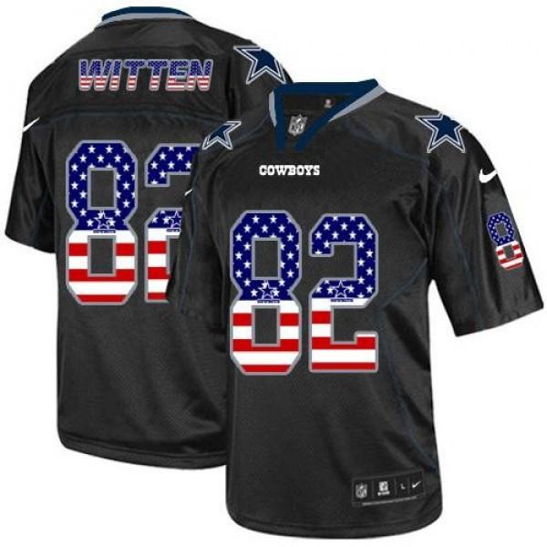 Nike Cowboys #82 Jason Witten Black Men's Stitched NFL Elite USA Flag Fashion Jersey