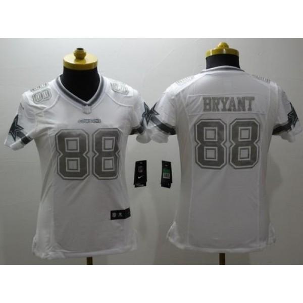 Women's Cowboys #88 Dez Bryant White Stitched NFL Limited Platinum Jersey