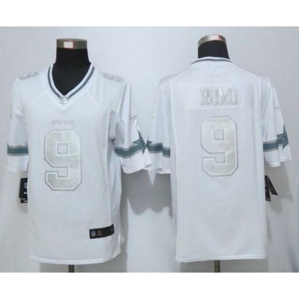 Nike Cowboys #9 Tony Romo White Men's Stitched NFL Limited Platinum Jersey