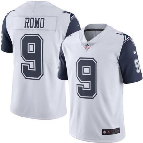 Nike Cowboys #9 Tony Romo White Men's Stitched NFL Limited Rush Jersey
