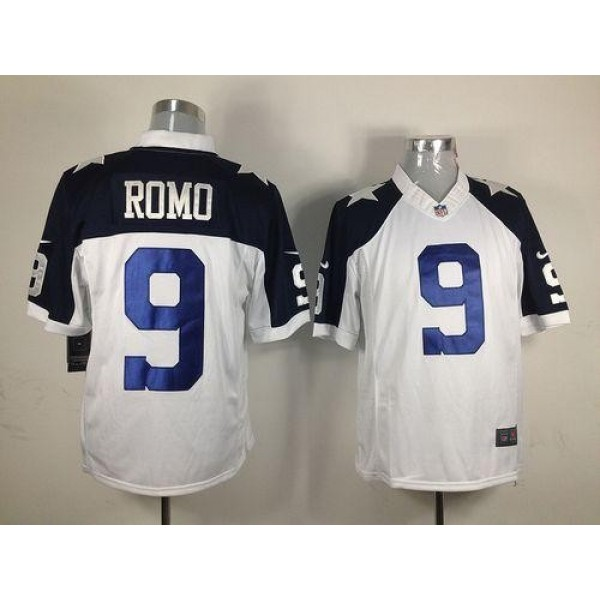 Nike Cowboys #9 Tony Romo White Thanksgiving Men's Throwback Stitched NFL Limited Jersey