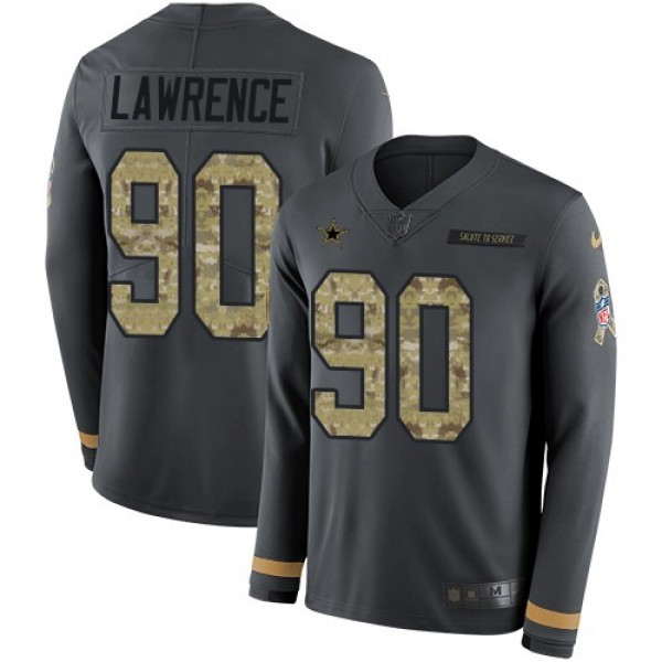 Nike Cowboys #90 Demarcus Lawrence Anthracite Salute to Service Men's Stitched NFL Limited Therma Long Sleeve Jersey