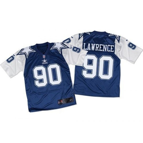 Nike Cowboys #90 Demarcus Lawrence Navy Blue/White Throwback Men's Stitched NFL Elite Jersey