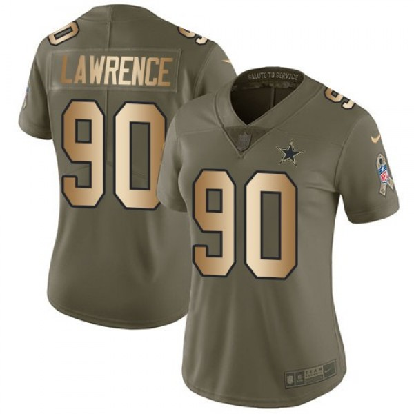 Women's Cowboys #90 Demarcus Lawrence Olive Gold Stitched NFL Limited 2017 Salute to Service Jersey