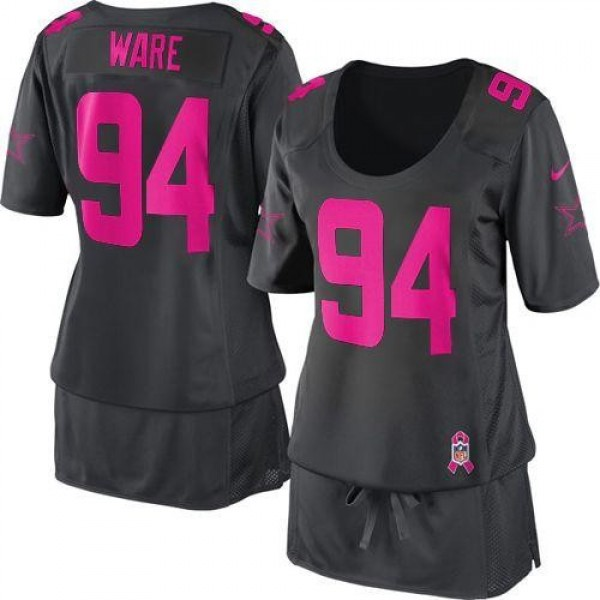 Women's Cowboys #94 DeMarcus Ware Dark Grey Breast Cancer Awareness Stitched NFL Elite Jersey