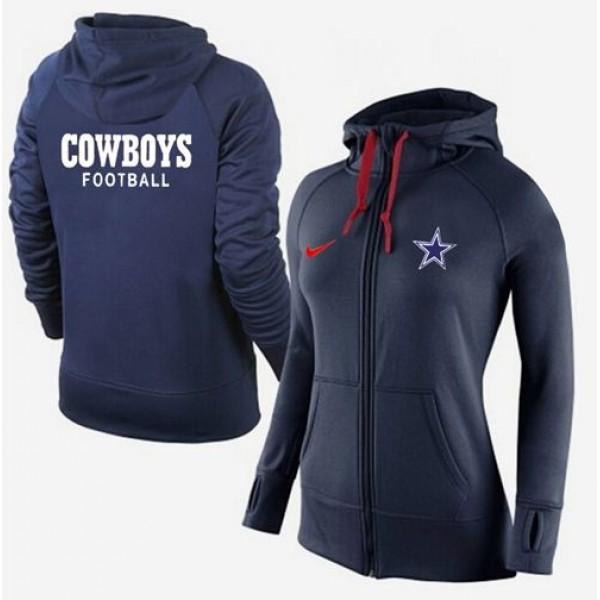 Women's Dallas Cowboys Full-Zip Hoodie Dark Blue Jersey