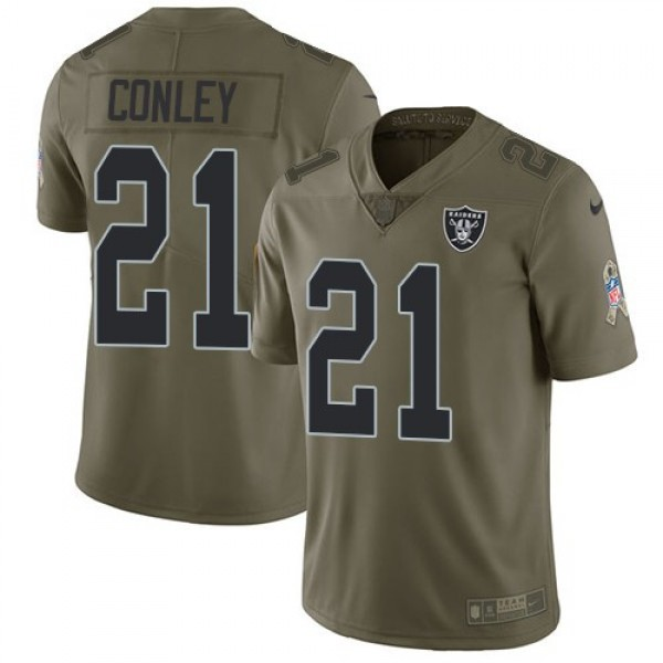 Nike Raiders #21 Gareon Conley Olive Men's Stitched NFL Limited 2017 Salute To Service Jersey