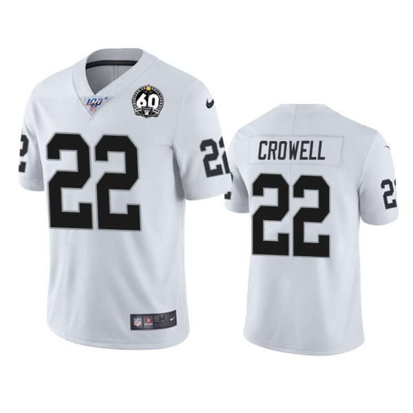 Nike Raiders #22 Isaiah Crowell White 60th Anniversary Vapor Limited Stitched NFL 100th Season Jersey