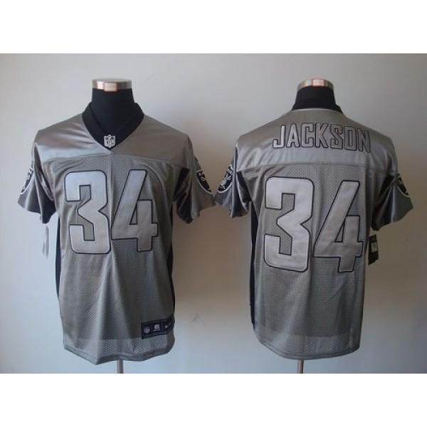 Nike Raiders #34 Bo Jackson Grey Shadow Men's Stitched NFL Elite Jersey