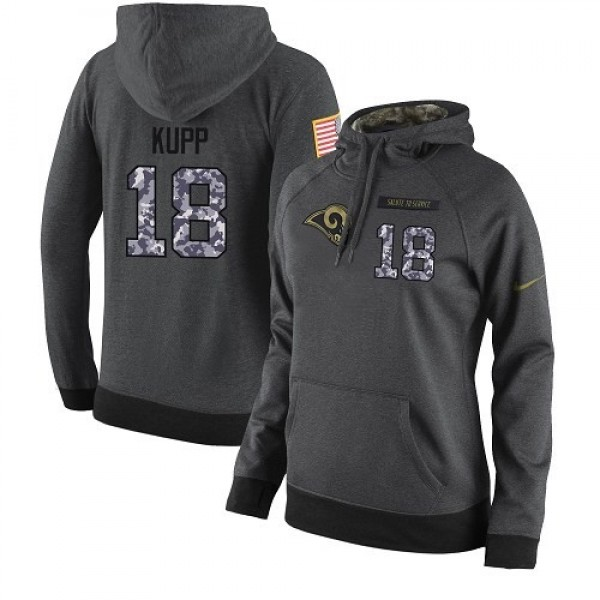Women's NFL Los Angeles Rams #18 Cooper Kupp Stitched Black Anthracite Salute to Service Player Hoodie Jersey