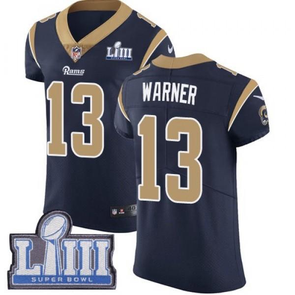 Nike Rams #13 Kurt Warner Navy Blue Team Color Super Bowl LIII Bound Men's Stitched NFL Vapor Untouchable Elite Jersey