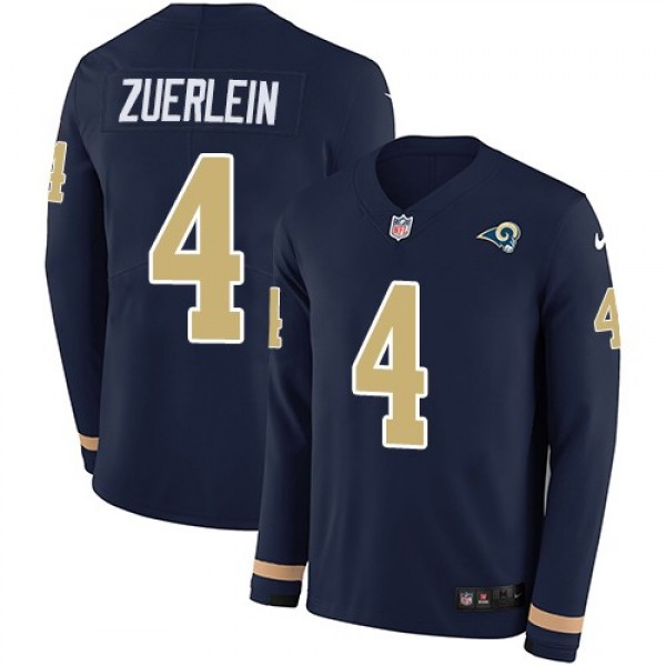 Nike Rams #4 Greg Zuerlein Navy Blue Team Color Men's Stitched NFL Limited Therma Long Sleeve Jersey