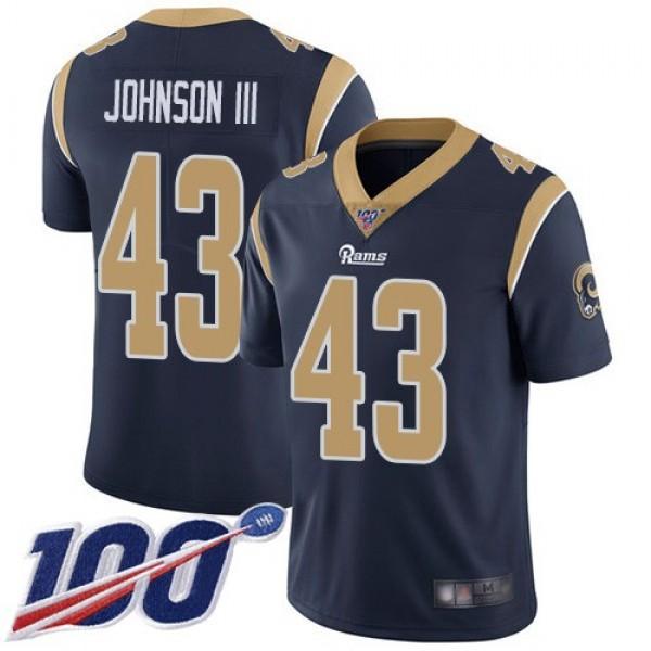 Nike Rams #43 John Johnson III Navy Blue Team Color Men's Stitched NFL 100th Season Vapor Limited Jersey