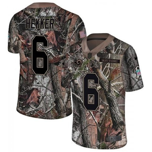 Nike Rams #6 Johnny Hekker Camo Men's Stitched NFL Limited Rush Realtree Jersey