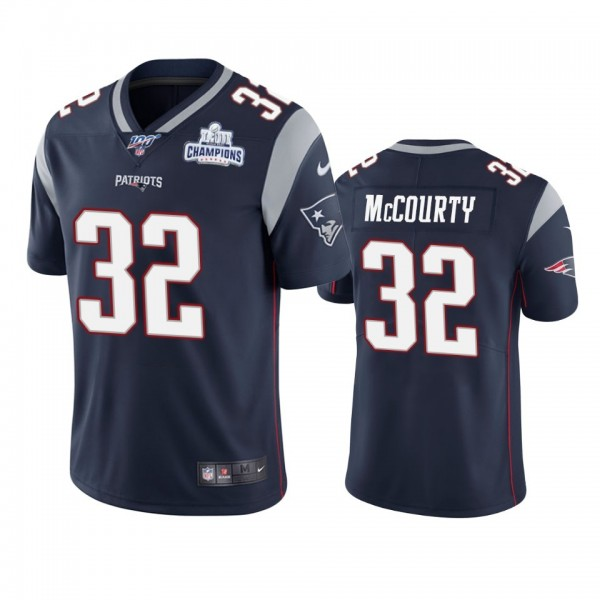 New England Patriots #32 Devin Mccourty Navy Super Bowl LIII Champions Vapor Limited NFL Jersey