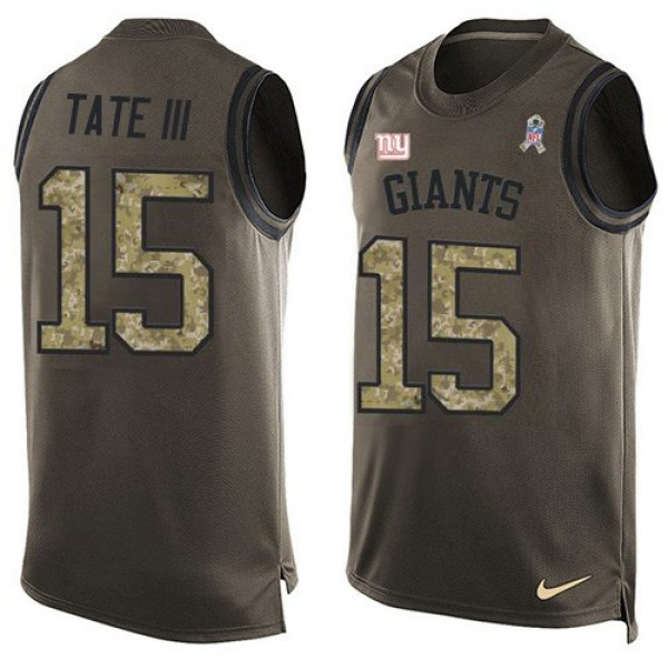 Nike Giants #15 Golden Tate Green Men's Stitched NFL Limited Salute To Service Tank Top Jersey