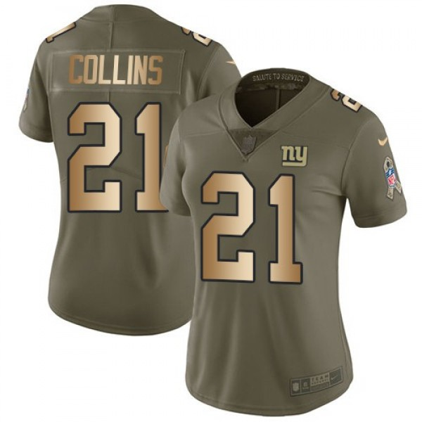 Women's Giants #21 Landon Collins Olive Gold Stitched NFL Limited 2017 Salute to Service Jersey