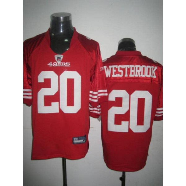 49ers #20 Brian Westbrook Red Stitched NFL Jersey